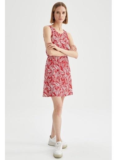 DeFacto Çiçek Desenli Yuvarlak Yaka Kolsuz Elbise Turkuaz